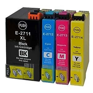 4 Cartouches d'encre xL compatibles pour epson 27XL t2711–epson workforce wF-t2714 7110DTW avec puce et jauge de remplissage