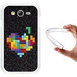 Funda Samsung Galaxy Grand Neo Plus, WoowCase [ Samsung Galaxy Grand Neo Plus ] Funda Silicona Gel Flexible Pixel - Corazón Multicolor, Carcasa Case TPU Silicona - Transparente