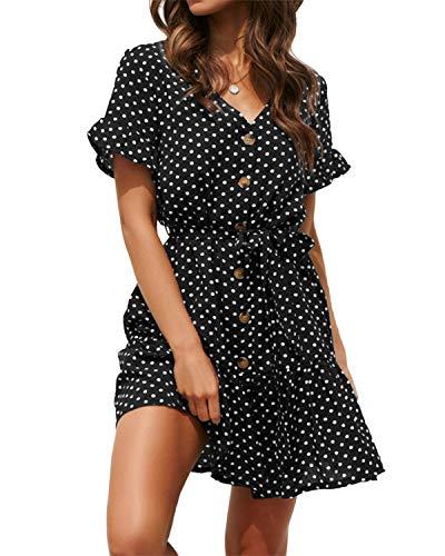 YOINS Kleid Damen Sommer Kurz V-Ausschnitt Schulterfrei Kleider Elegant Strandkleider Minikleid Partykleider (Sexy Party-kleider)