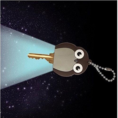 Eule Schlüsselkappe mit Licht - Eulen Schlüsselkennring Schlüsselüberzug Schlüsselüberzieher mit Licht