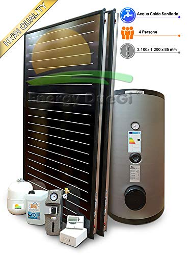 Kit impianto solare termico ad elevate prestazioni per produzione Acqua Calda Sanitaria, 2-4 persone, bollitore 300 litri, FKF240 (1, Impianto con bollitore monoserpentina)