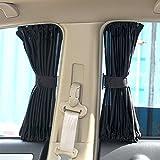 Ommda Sonnenschutz und Sichtschutz Seitenscheibe Universal Sonnenschutz Auto Baby mit UV Schutz 2er Pack Vorhänge Schwarz 70cmx39cm
