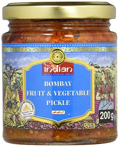 TRULY INDIAN Bombay Mixed Pickle, Würziges indisches Relish mit traditionell eingelegtem Obst & Gemüse, Als würziger Dip oder Fertigsauce (6 x 200 g)