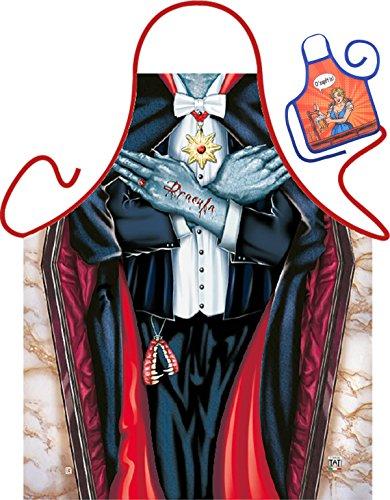 Goodman Design  Witzige Schürze mit Motiv - Vampir im Sarg - Grillschürze, Kochschürze, Backen, Geschenk, Geburtstag - Mit Mini Schürze