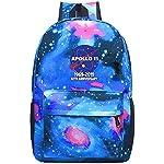 XKYZTKB Apollo 11 50th Anniversary NASA Moon Landing Logo Travel Laptop Backpack Galaxy Pattern School Bag