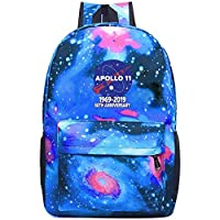 XKYZTKB Apollo 11 50th Anniversary NASA Moon Landing Logo Travel Laptop Backpack Galaxy Pattern School Bag