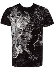 Sakkas Aigle, Epée et chaines En relief argent métallique Manches courtes Col rond Coton T-Shirt Fashion homme