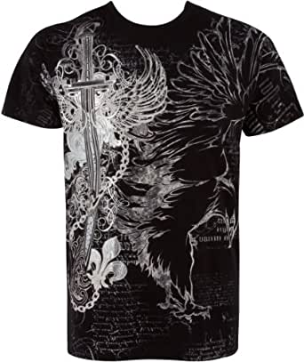 TG427T Eagle,Sword and Chains Metallic Silver Embossed Short Sleeve Crew Neck Cotton Mens Fashion T-Shirt - Black / Small