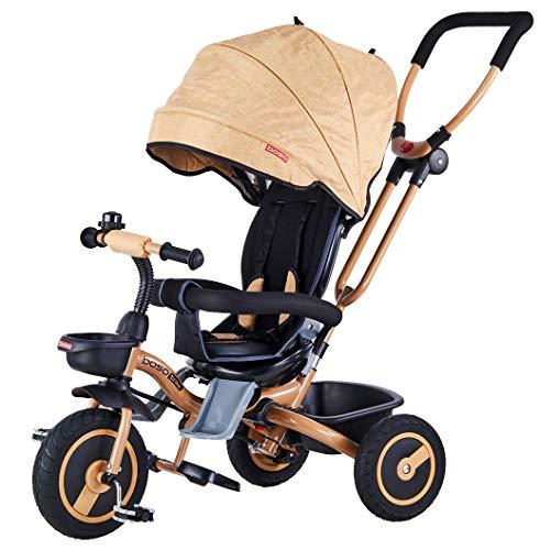 Mondial Toys Triciclo Passeggino Pieghevole 4 in 1 con SEGGIOLINO Reversibile MANIGLIONE DIREZIONABILE Ruote in Gomma CAPPOTTINA Parasole Coffee
