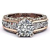 UFODB Diamant Ringe Für Damen Diamant-Ring Gold Mit Diamanten Ring Verlobungsring Solitärring Diamantring Brillianten Hochzeitsringe Freundschaftsring Verlobungsring
