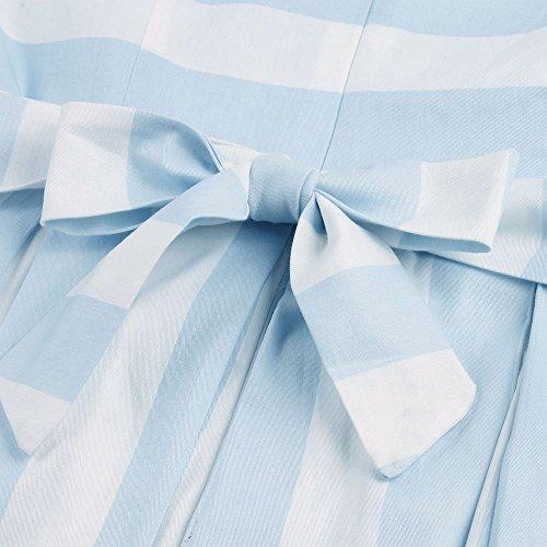 ZAFUL Damen Retro Elegante Cocktailkleider 50er Jahre Hepburn Ärmellos Abendkleid Swing Kleider-Blau Flamingo-XXL - 5