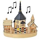 Weihnachtskirche Weihnachtsdeko mit Musik und 4 LED´S Holz ca. 25x15x26cm