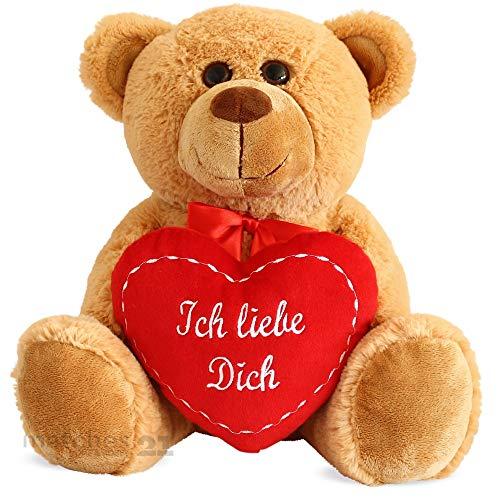 matches21 Teddy Teddybär Plüschbär mit rotem Herz Ich Liebe Dich 35 cm Plüschteddy Kuscheltier Schmusetier braun beige Hellbraun