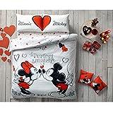 Paris Home 5x Minnie loves Mickey Mouse Perfect Match Herzen 100% Baumwolle volle Größe Tröster Set w/Linens Bettwäsche-Set