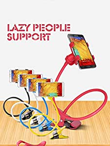 SIS Cell stands with Clip, Flexible Long Arms for Phone, GPS Devices, Fit On Desktop Bed Mobile Stand for Bedroom, Office, Bathroom, Kitchen (red)