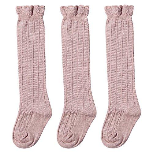 Happy Cherry 3er Pack Baby Stulpen Kniestrümpfe Kleinkind Knielang Socken aus Baumwolle 1-3 Jahren