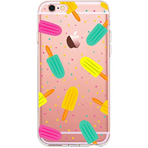 Girlscases® | Hülle kompatibel für iPhone 6 Plus / 6S Plus | Im Sommer EIS-Creme Motiv Muster | in bunt | Fashion Case transparente Schutzhülle aus Silikon