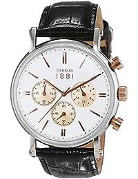 Cerruti 1881 señores-reloj analógico de cuarzo cuero Tremezzo CRA110STR01BK