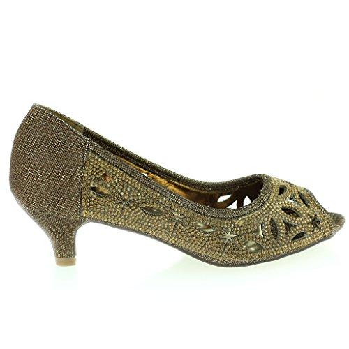 Femmes Dames Diamante Clouté Coupé Détail Peeptoe Kittenheel Soir Fête Mariage Bal de promo Des Sandales Chaussures Taille Marron