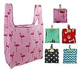 Einkaufstasche-Faltbar-Groß-Shopping-Bags 5 Stück Einkaufsbeutel mit Attached Beutel Shopper Taschen Wiederverwendbar Groß Robust und Reißfest