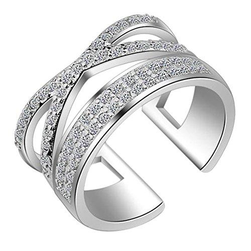 Monbedos Damen Offener Diamantring/Schwanzring Weißgold Hochzeit Verlobung Brautring Verlobungsring Ewigkeitsring