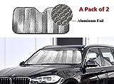 WinneG Faltbare Silber Aluminium Foil Außenwärmereflektierende Auto-Side-Sonnenschutzsun Masken-Schild-Ca. Größe: 130 x 60 cm 2 PCS
