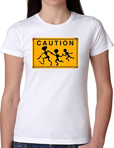 1f9eaf688b6f5 T SHIRT JODE GIRL GGG22 Z1292 CAUTION SKELETONS SCHOOL CHILDREN FUN FASHION  COOL BIANCA - WHITE