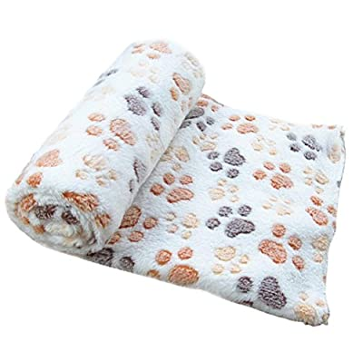 Pet Dog Soft Blanket - Kingwo Warm Pet Mat Small Large Paw Print Cat Dog Puppy Fleece Soft Blanket - inexpensive UK light shop.
