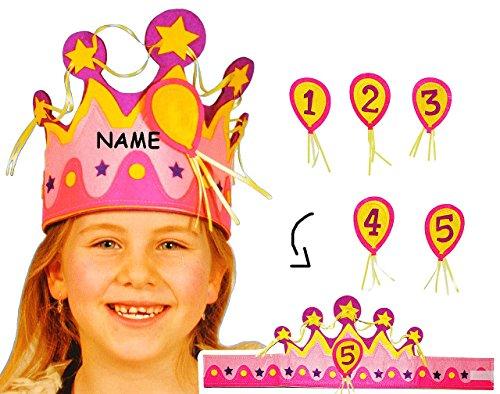 Krone - aus Filz - Größen VERSTELLBAR - für Kinder & Erwachsene - incl. Name - mit Zahlen - rosa & pink - Geburtstagskrone / Kindergeburtstag - lustiger Partyartikel - (Krone König Erwachsene Verstellbar)