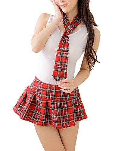 l Nachtwäsche Cosplay Sexy Schulmädchen Kostüm Kleid Dessous Outfit Halloween (Type 3) (Schulmädchen Outfit)