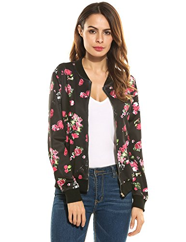 ACEVOG Damen Herbst Frühling Bomberjacke Bikerjacke Fliegerjacke Kurzjacke Sportwear Blumendruck mit Stehkragen Reißverschluss Slim Fit