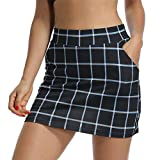 Jessie Kidden Femme décontracté plissé Jupe de Golf Femme avec sous Short et Poche pour la Course à Pied de Tennis entraînement # 949 XS Blue Grid