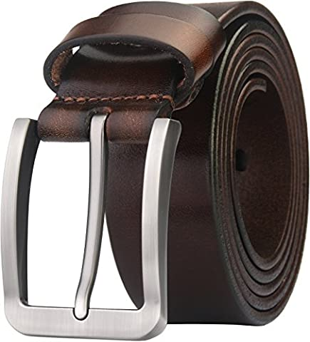 Blasea Full Grain Leather Casual Style Pin Buckle Jeans Belts for Men 653 Dark Brown 125cm