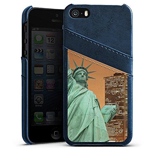 Apple iPhone 4 Housse Étui Silicone Coque Protection Horizon Statue de la liberté New York Étui en cuir bleu marine
