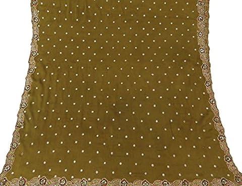 Indian Vintage-Schal Grün Polyester Dupatta Hand wulstige Gebraucht Schleier-Stola-Verpackung