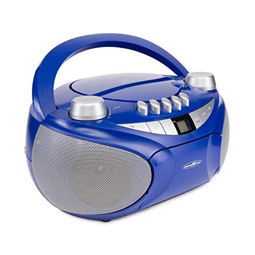 Reflexion CD-Player mit Kassette, USB, SD, UKW-Radio, AUX-Eingang, Netz- und Batteriebetrieb, blau