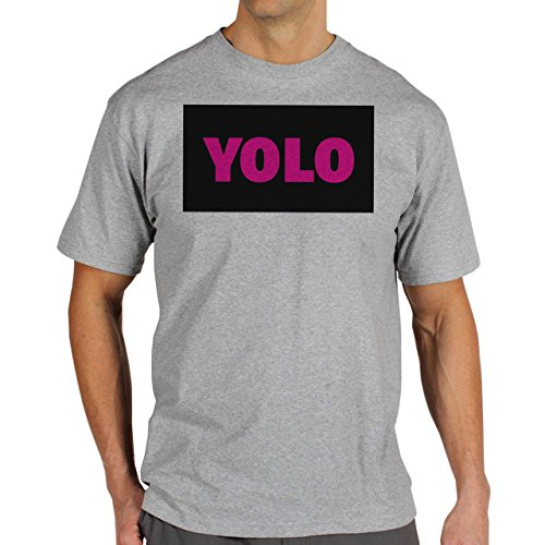 YOLO Black Pink Name Background Herren T-Shirt Grau