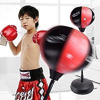 favourall Cajas Balón de Entrenamiento, Reflex Fight Ball,–pera, Adultos Juego de Boxeo con Guantes y Soporte Ajustable Altura 80–110cm Rojo