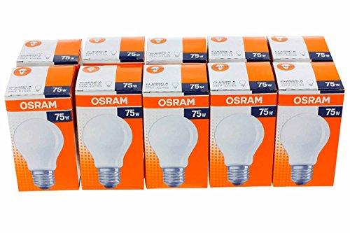 Osram Glühlampe Birnenform, 10er, 75 Watt, E27, matt, 30800008 - 75w Glühbirne