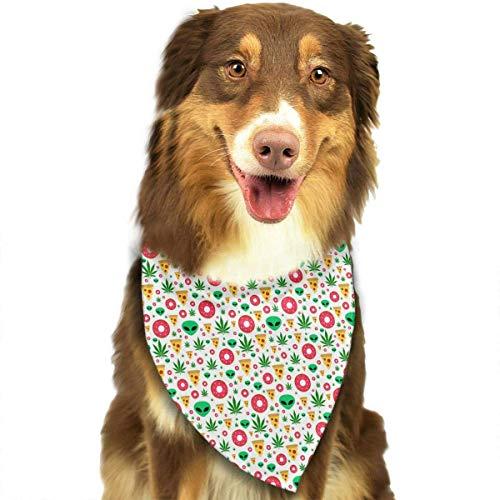 (Wfispiy Marihuana Leafs Donuts Pattern weiche Baumwolle Klassische Tiere Bandana Haustier Hund Katze Dreieck Lätzchen)