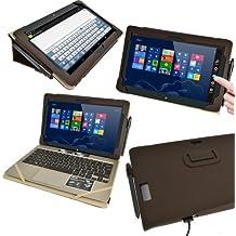 """igadgitz Marrón Funda 'Portfolio' Case Cover Cuero Auténtico para Asus Vivo Tab TF810C TF810 11.6"""" Windows 8 Tablet & Base Dock Teclado"""
