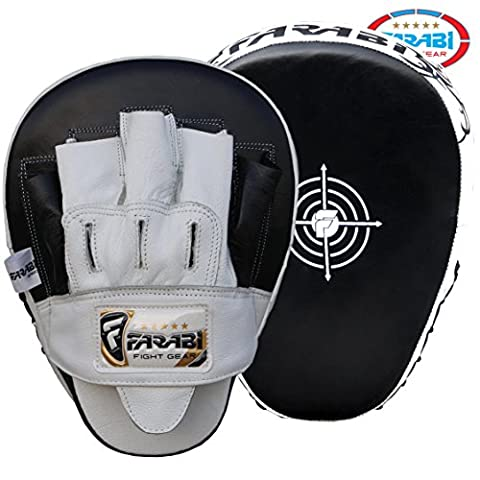 Curved Focus Pads, Hook & Jab Mitts, Boxing Training Pads made with genuine cowhide leather.