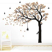 Bdecoll vinilo adhesivo para pared, diseño de árbol Gigante negro con hojas verdes, pájaros