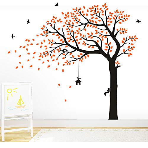 BDECOLL Vinyl Wand Aufkleber Baum mit Zweige & Fallende Blätter / Natur Vögel Art Dekor Heim Bunt aufkleber,Aufkleber/Sticker,Vinyl, für Kinderzimmer (Orange)