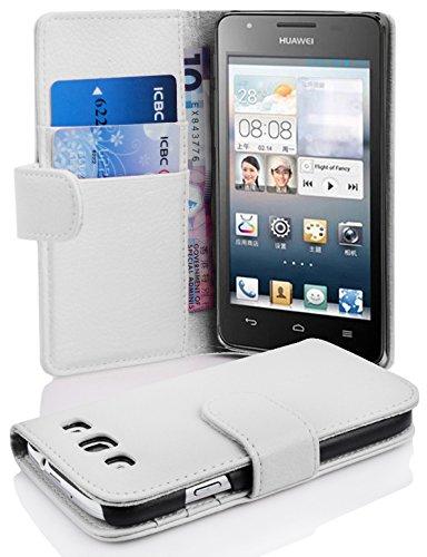 Cadorabo Hülle für Huawei Ascend G525/ G520 Hülle in Handyhülle mit Kartenfach aus Struktriertem Kunstleder Case Cover Schutzhülle Etui Tasche Book Klapp Style Magnesium Weiß