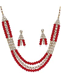 Peora Ethnic Jwellery Princess Royal Gold Plated Pearl Kundan Stone Studded Necklace Earring Set