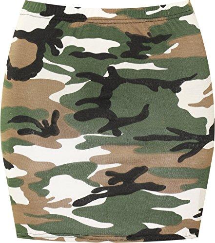 WearAll - Damen Bedruckt Dehnbar Jersey Figurbetontes Kurz Mini-Rock - Armee - 40-42 -