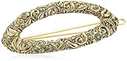 1928 Jewelry Antiqued Gold-Tone Oval Hair Barrette