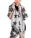Gadzo Damen xxl Schal grau winterschal mit sternen damen sterne xxl Oversize Schal weich O09008