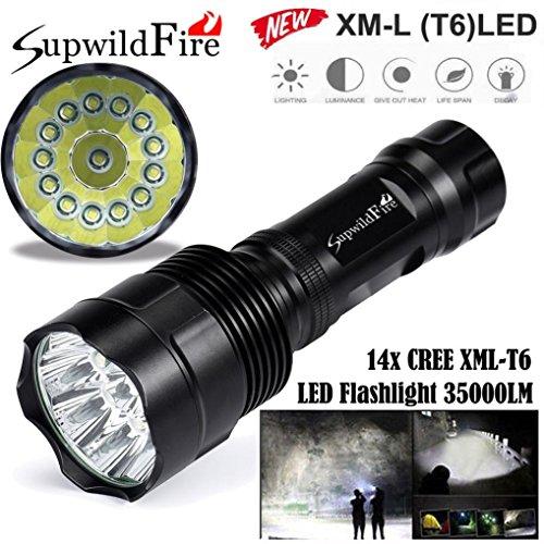 AMUSTER Super brillant 35000Lm 14x XM-L T6 LED  Mode 5 Lampe de poche 18650 Lampe de lampe torche
